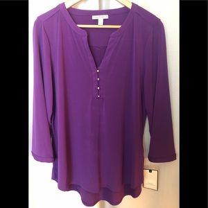 NWT Dana Buchman Purple Henley-Style Top Size L